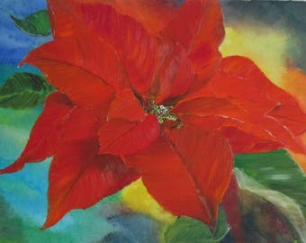 Flower painting, poinsettia painting,Christmas star, Original Painting, oil painting