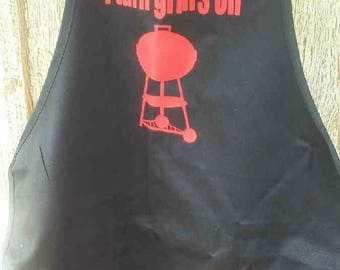 I turn grills on, grilling apron, dad apron, bbq apron, gift for him