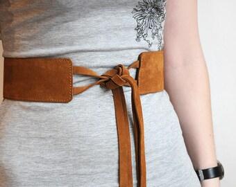 Wide brown suede leather belt, Brown wide waist belt