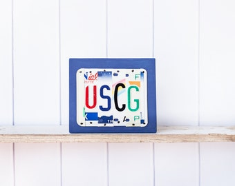 USCG - recycled license plate art - United States Coast Guard sign - gift for Coast Guard Retirement - Gift for Coast Guard veteran