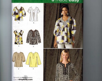 Misses Sewing Pattern Simplicity 2696 Misses Easy Shirt Tunic Top Size 14 16 18 20 22 Bust 36 38 40 42 44 UNCUT