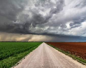 Farm Photography Print - Fine Art Landscape Photograph of Road Separating Colorful Fields and Storm in Central Oklahoma Country Home Decor