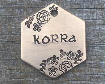Hand Stamped Pet ID Tag, Dog Tag, Dog Tags for Dogs, Dog Tags, Botanicals, Dog Tag with Flowers, Hand Stamped Dog Tag, Personalized Dog Tag