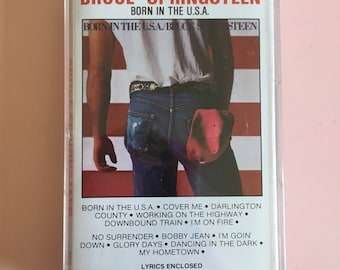 """1984 Bruce Springsteen """"Born In The U.S.A."""" Cassette Tape - Columbia Records - CBS Music Productions - The E Street Band"""