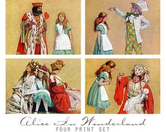 Alice In Wonderland Vintage Art Print Set