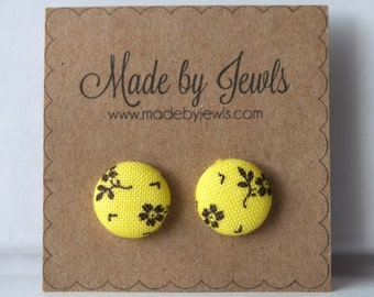 Yellow and Black Flower Floral Handmade Fabric Covered Hypoallergenic Button Post Stud Earrings 10mm
