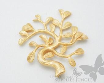P152-MG// Matt Gold Plated Tree Pendant, 2pcs