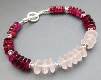 SALE WAS 58.99 Garnet Rose Quartz Gemstone Sterling Silver Toggle Bracelet EE Designs