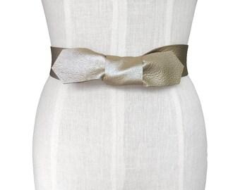 Bow Belt, Gold Leather Belt, Leather tie belt,  Leather Coat belt , Fashion belt, Sparkly  24- 36,  Lena belt,  Wide strap belt, women belt