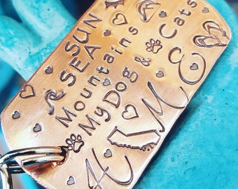 State Keychain-Home keychain-dog tag Keychain-Best friend gift-Girlfriend gift-I love the USA-Home is where my heart is-Graduation gift