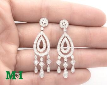 Diamond Chandelier Earring,Diamond Dangle Earrings,14K Solid gold Earrings, Gold Earrings,Drop earring