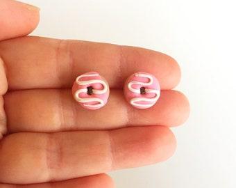 Pink Donut Stud Earrings