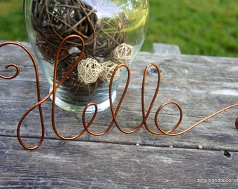 Copper Hello Sign In Wire For Wall Hanging - More Colors Available