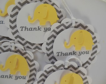 Elephant Thank You Gift Tags - Yellow, Gray Chevron and White - Gender Neutral - Baby Shower or Party Favor Tags - Set of 6