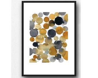 Abstract Watercolor Painting, black brown watercolor print, abstract print