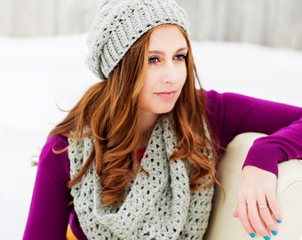 Instant Download - CROCHET PATTERN PDF - Slouch Hat and Infinity Scarf - Permission To Sell Finished Items