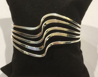 Silver Plated Bracelet Mexican Wave Design Handmade in Taxco