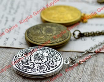 Cherry Blossom Oval Lockets Pendant Necklace