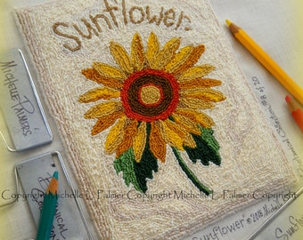 Sunflower Flower No. 8 in Botanical Collection Punch Needle Embroidery DIGITAL Jpeg and PDF PATTERN Michelle Palmer Painting with Threads