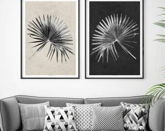 Botanical Print – Set of 2 Prints – Large Wall Art – Black and White Prints – Minimalist Print – Fine Art Print – A3 Prints - A2 Prints