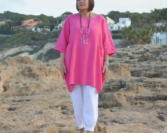 Womens Linen Shirt, Tunic, Made in Italy, Apparel,  Black, White, Blue, Pink, Gray, Lagenlook,  Sizes 14 16 18 20/22 24 26 28 30 9479