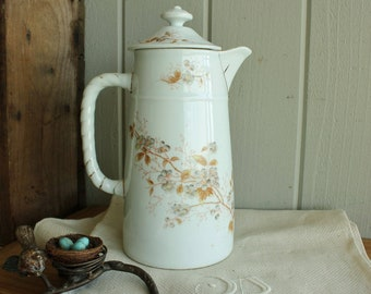 Antique Austrian China Chocolate Pot