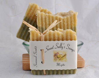 Mojito Organic Soap, Vegan Hot Process Handmade Soap, Lime and Spearmint Essential Oil Soap