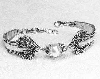 "Antique Spoon Bracelet, Spoon Jewelry, White Pearl Bracelet, ""Avon"" 1901, Customizable Silverware Jewelry"