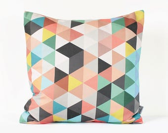 Colorful Geometric Pillow Cover, Multicolor Geometric Cushion, Triangle Pillow, Modern Home Decor, Valentine's Day Gift, Pink Mint Throw