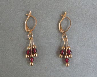 Garnet and Gold Dangle Earrings with Lever Back Ear Hooks