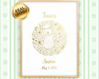 Personalized Taurus Zodiac Gold Print, Real Gold Foil Print, Baby Shower Gift, Newborn Gift, Nursery Wall Art, Child Room, GoldenGraphy