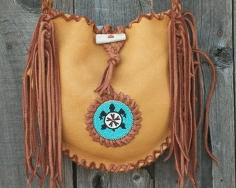 Custom leather handbag ,  Beaded turtle totem , Leather handbag with fringe, Fringed leather tote ,  Handmade leather shoulder bag