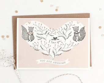 50% OFF - Valentine's Day Card - You Are Awesome - Greeting Card
