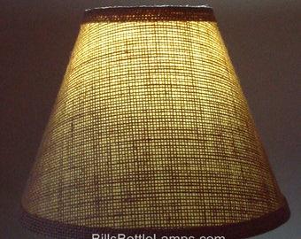 Burlap LAMP SHADE Rustic Cottage Table Light Lamp Shade Faux Oil Kraft Clip On  Bulb