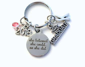 College Graduation Gift for University Keychain, High School 2018 She believed she could so she did can Canadian Made initial birthstone her