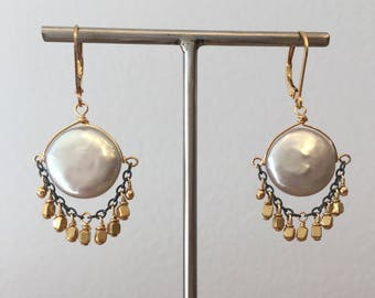 Coin pearl and vermeil chandelier earrings