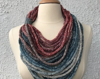 Knitted Womens Scarf Neckwarmer Necklace Light and Simple Copper Rose Gold Pale Blue Light Gray and Windsor Blue