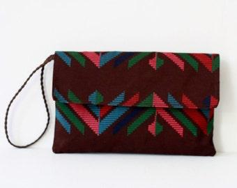 Tribal Envelope Clutch, Brown Clutch Purse