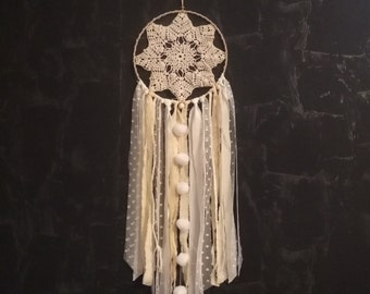 Dream catcher crochet beige, ivory and white
