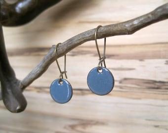 Short Dangle Earrings, Blue Gray Drop Earrings, Copper Enamel Jewelry, Nickel Free Kidney Earwires, Blue Grey, Handmade Earrings