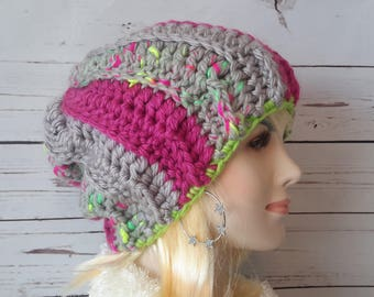 Crochet Slouchy hat Womens Slouchy Hat Chunky Winter hat Color Stripes Hat slouch hat Slouchy beanie Womens Slouch Crochet womens beanie