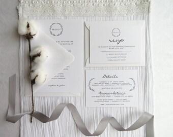 Wedding Invitation Suite - Style 09 - Simple Wreath COLLECTION   Wedding Invitations     Wedding Invites    Invitation Set
