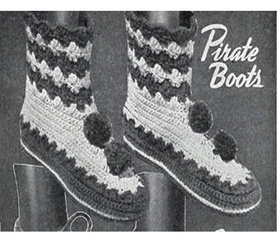 CROCHET BOOT Slipper Pattern Slipper Boots Vintage Greenland Boots ...