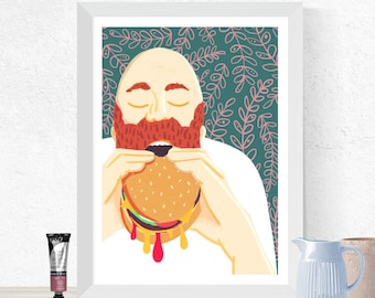 Food Illustration, Man Eating Burger, Quirky Wall Art, Kitchen Decor, Cafe Decoration, Burger Print, Foodie Gift, Gift for Cook