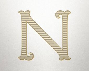 Single Vintage Letter - N - Vintage Letter - Digital
