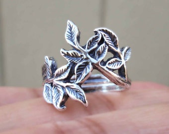 Tree branch leaf ring Unique Sterling Silver Jewelry Adjustable ring Sterling silver ring Tree ring Branch ring Not spoon ring R-190