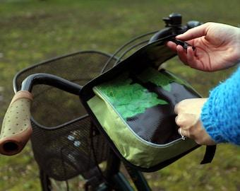 Handmade, recycled bicycle handlebar, saddle bag