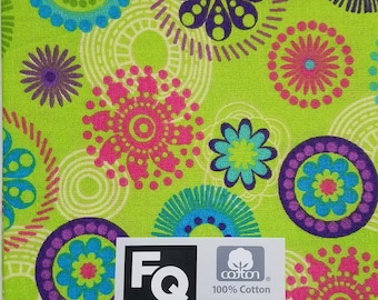 "Fabric Quarters Cotton Fabric 18""- Green Circles"