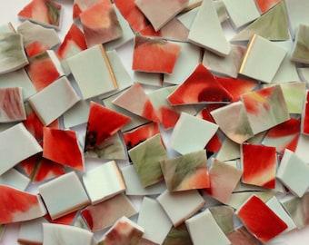 110 Orange and Green Vintage China Tiles//Broken Dish Mosaic Tiles//Mosaic Supplies//Mosaic//Craft Supplies
