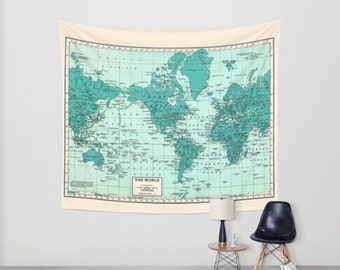 World map tapestry wall hanging vintage map grey and white world map wall tapestry wall hanging vintage map teal and cream beautiful map travel decor wall decor atlas den bedroom library gumiabroncs Gallery